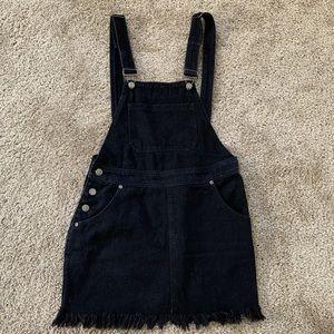 Boohoo black denim overall dress